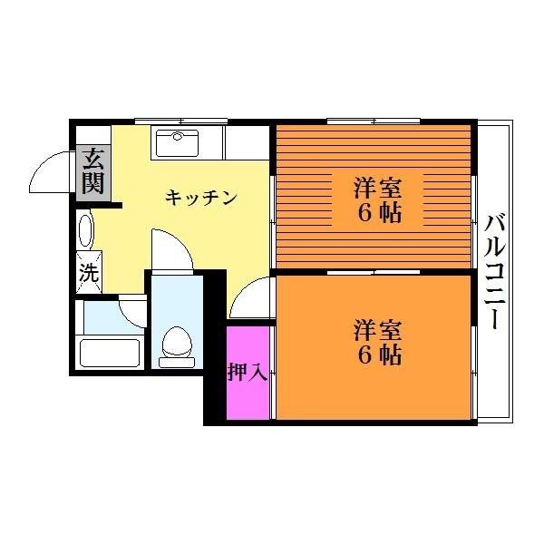 全居室洋室の2Kタイプ!(間取)