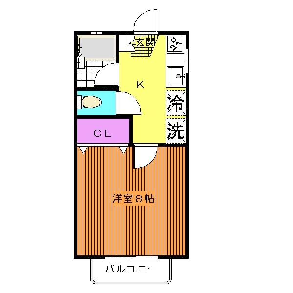 広々、約8帖の洋室☆バス・トイレ別☆(間取)