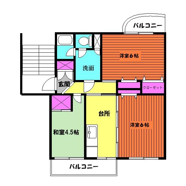2部屋、洋室へリフォーム済!(間取)