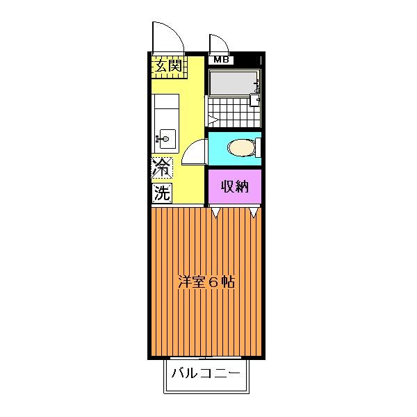 バス・トイレ別、約6帖の洋室です☆(間取)