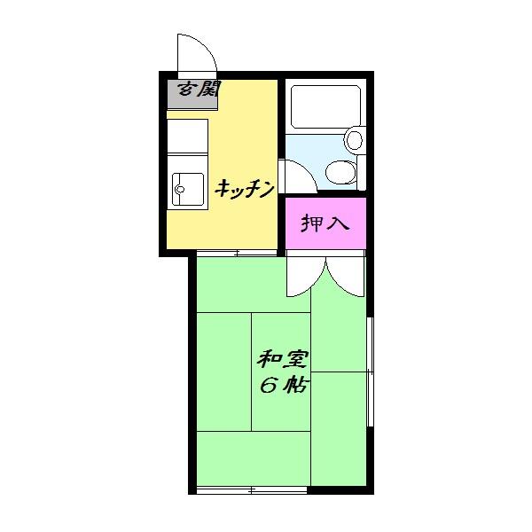約6帖、和室のお部屋になります。(間取)