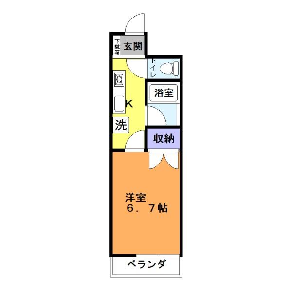 バス・トイレ別の1Kタイプのお部屋です☆(間取)