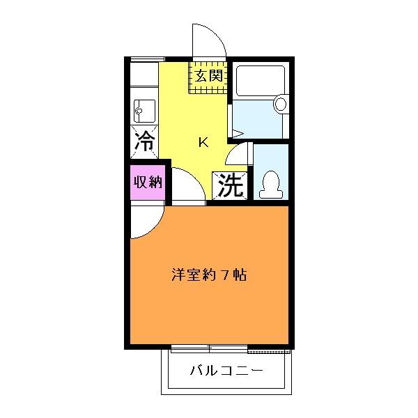 バス・トイレ別!約7帖の洋室です!(間取)