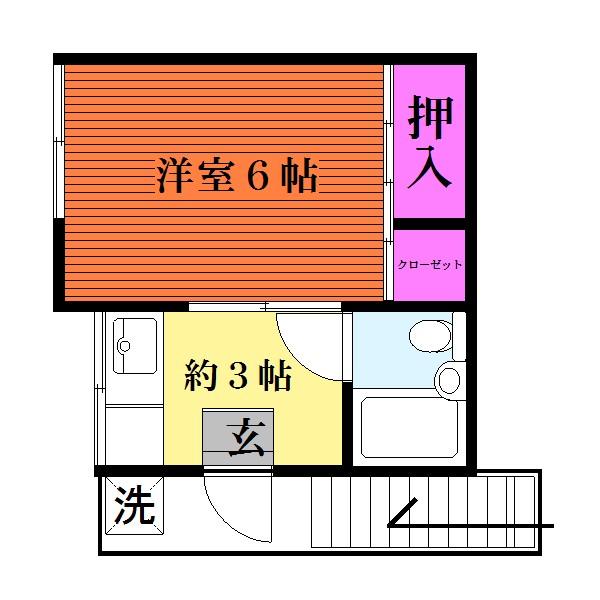 6帖の洋室、1Kタイプです☆(間取)