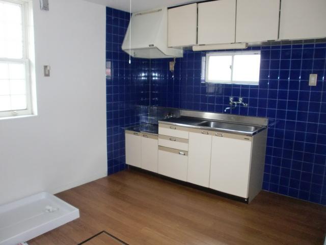 オシャレな青いタイルのキッチン☆(キッチン)