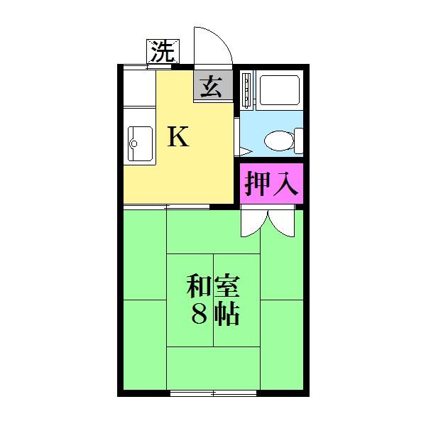 広々、約8帖の和室です。(間取)