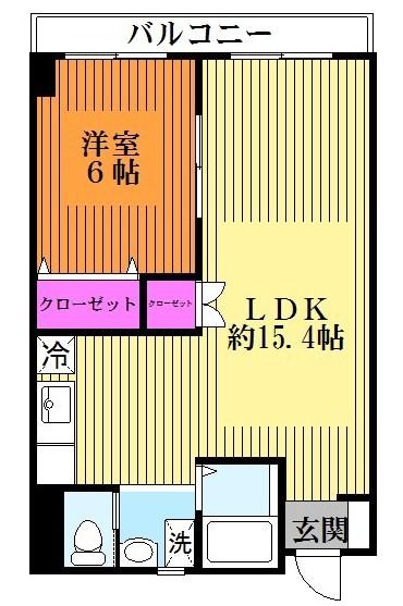 人気の1LDK☆LDKは広々約15.4帖(間取)